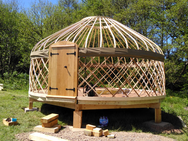 Constructing a yurt onsite