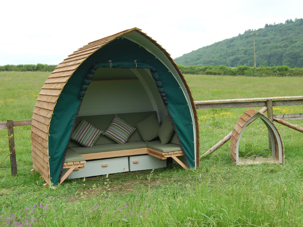 Woodscott garden shelter with bespoke canvas by Millie's Yurts