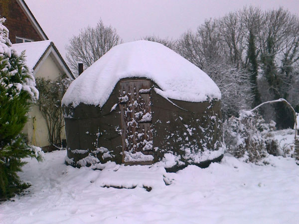 Yurt covered in snow